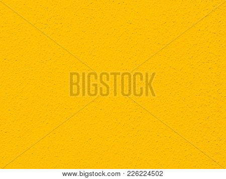 Bright Yellow Painted Rough Textured Wall Background Photograph, Authentic Small Bumpy Texture And P