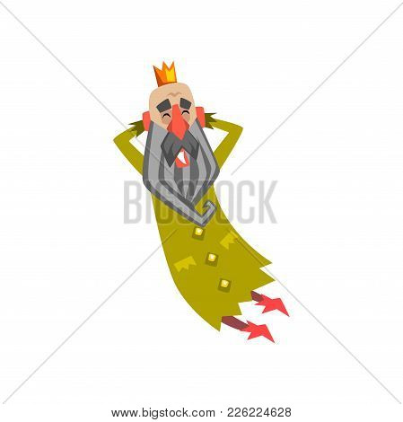 Funny King Character In Green Mantle With Closed Eyes, King Dreaming Cartoon Vector Illustration On