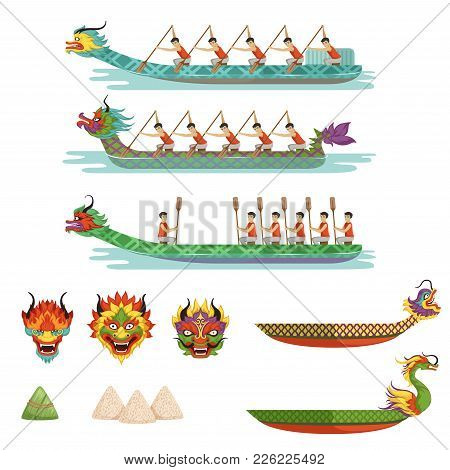 Dragon Boats Set, Team Of Male Athletes Compete At Dragon Boat Festival Vector Illustrations On A Wh
