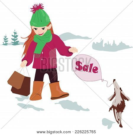 Modern, Fashionable Girl With A Bag And A Dog For A Walk