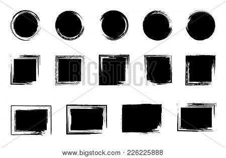 Grunge Post Stamp Set, Circles. Round, Square, Rectangular Banners, Backgrounds, Boxes, Frames, Insi