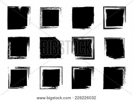 Grunge Brush Frame Set, Ink Square Backgrounds For Text, Information. Rectangular Banners, Boxes, Fr