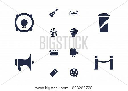Set Of 12 Amusement Icons Set. Collection Of Barrier Rope, Film Role, 3d Glasses And Other Elements.