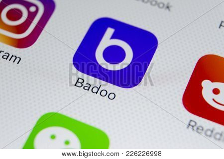 Sankt-petersburg, Russia, February 9, 2018: Badoo Application Icon On Apple Iphone X Screen Close-up