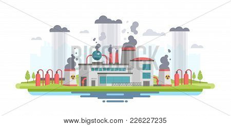Urban Landscape With Plant - Modern Flat Design Style Vector Illustration On White Background. A Com