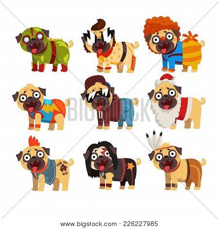 Funny Pug Dog Character In Colorful Funny Costumes Set, Vector Illustrations On A White Background