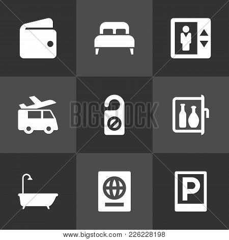 Set Of 9 Travel Icons Set. Collection Of Road Sign, Citizenship, Bedroom And Other Elements.