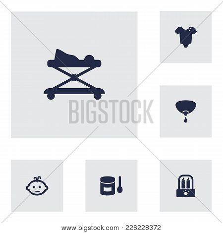 Set Of 6 Kid Icons Set. Collection Of Boy, Breastfeeding, Sterilizer And Other Elements.