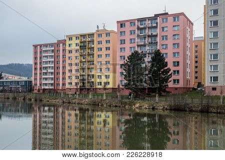 Reconstructed Blocks Of Flats Built In Communism Era In Czech Republic In City Of Bruntal