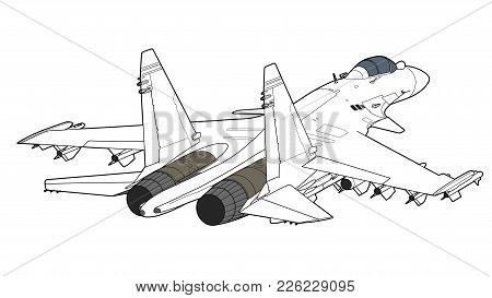 Landing Of The Newest Russian Jet Fighter Aircraft. Technichal Draw. Isolated On White Background.