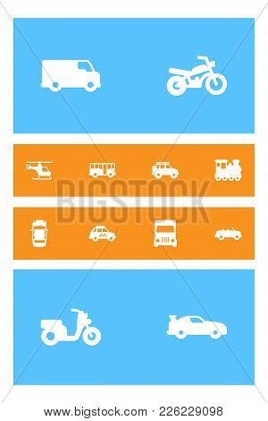 Set Of 12 Traffic Icons Set. Collection Of Motorcycle, Lorry, Helicopter And Other Elements.