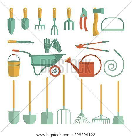 Set Of Various Gardening Items. Garden Tools. Flat Design Illustration Of Items For Gardening. Vecto