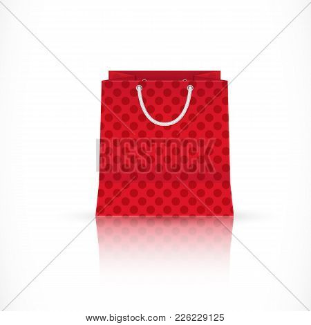 Realistic Illustration Of Red Shopping Bag. Retail, Consumerism, Purchase. Shopaholic Concept. Can B