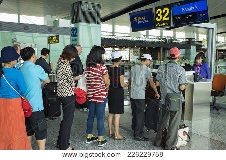 Hanoi, Vietnam - June 26, 2015: Lines Of People Waiting At Boarding Gate In Noi Bai International Ai