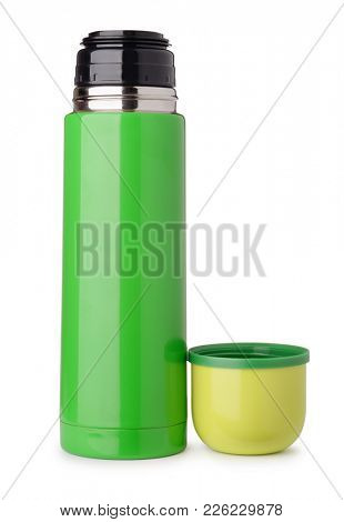 Front view of green thermo flask isolated on white