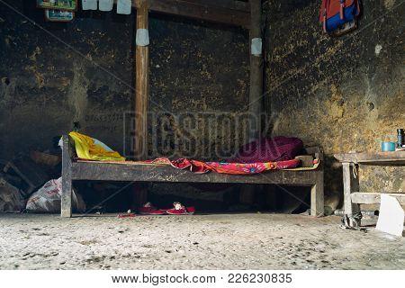 Ha Giang, Vietnam - Feb 13, 2016: Interiors Inside A H'mong House. Income Of Minority Ethnic Househo