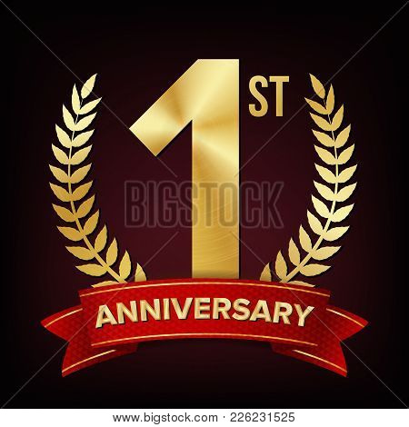 1 Year Anniversary Vector. One, First Celebration Banner. Gold Digit Sign. Number One. Laurel Wreath
