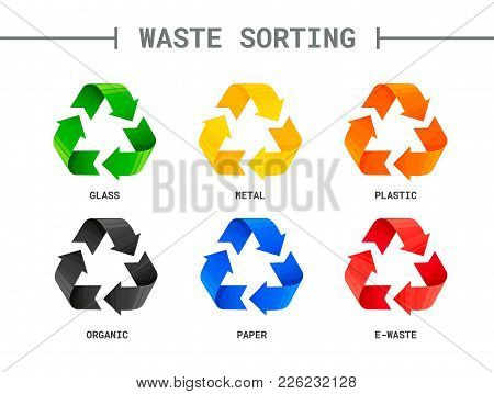 Waste Sorting, Segregation. Different Colored Recycle Signs. Waste Management Concept. Separation Of