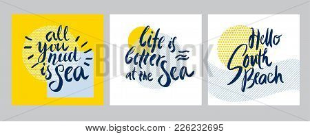 Hello Summer. Word Title Vector Illustration In Hand Made Decorative Style For T-shirt, Poster, Bann