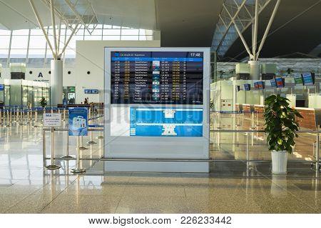 Hanoi, Vietnam - July 12, 2015: Information Board At Noi Bai International Airport, The Biggest Airp