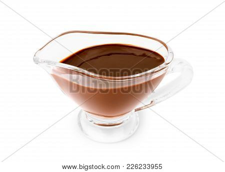 Chocolate Syrup Drips In Shape Of Light Bulb Isolated On White