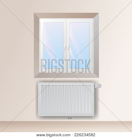 Steel Panel Radiator In The Interior Under The Window. Heating Equipment With Thermostatic Head Vect