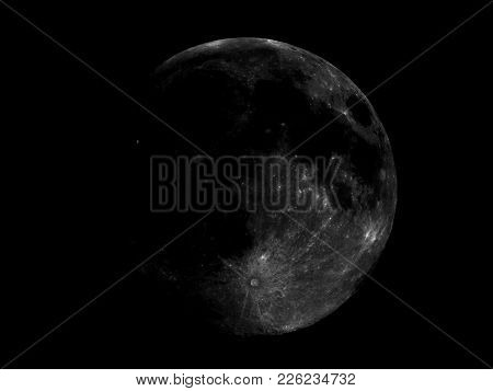 High Contrast Full Moon Seen With An Astronomical Telescope, High Resolution Composite Stacked Image