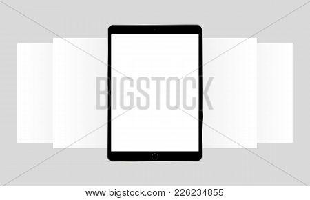 Black Tablet Computer App Screen Mockup. Blank Wireframing Screens. Web-design Concept To Display Ap