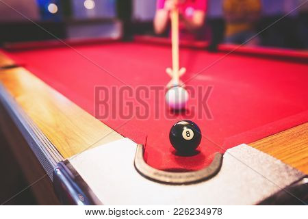 Young Teenager Playing Snooker, Snooker Balls On The Snooker Table.