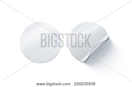 Blank Transperent Round Adhesive Stickers Mock Up With Curved Corner, 3d Rendering. Empty Circle Sti