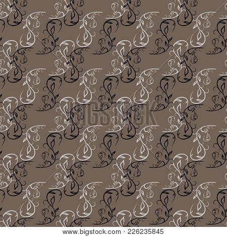 Beige Twig On Brown Seamless Pattern. Fashion Graphic Background Design. Modern Stylish Abstract Tex