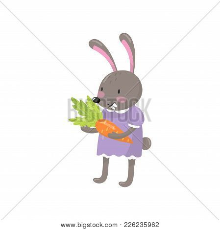 Little Bunny Girl Standing And Holding Orange Carrot. Humanized Forest Animal Dressed In Human Cloth