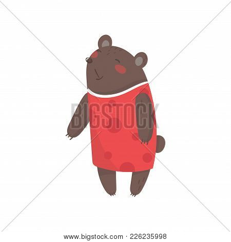 Smiling Female Bear Dressed In Human Clothes. Cartoon Character Of Wild Forest Animal With Brown Fur