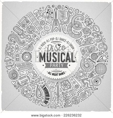 Set Of Vector Cartoon Doodle Musical Objects Collected In A Round Border. Disco Music Card Design