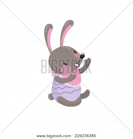 Cute Baby Rabbit Sitting Isolated On White Background. Adorable Forest Animal With Long Ears Dressed