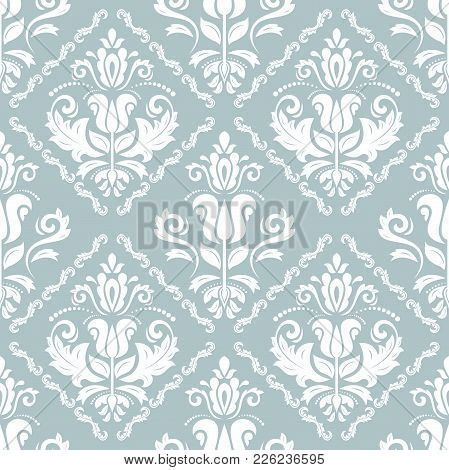 Damask Classic Blue And White Pattern. Seamless Abstract Background With Repeating Elements. Orient