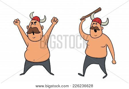 Viking With Helmet And Baton, Man Character. Vector Illustration, Isolated On White Background.