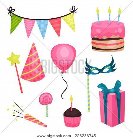 Collection Of Birthday Party Elements. Triangle Bunting Flags, Cake With Candles, Glossy Balloon, Lo