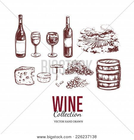 Wine Set. Vector Hand Drawn Elements Including Wine Glass, Bottle, Grape, Vineyard Landscape, Cheese