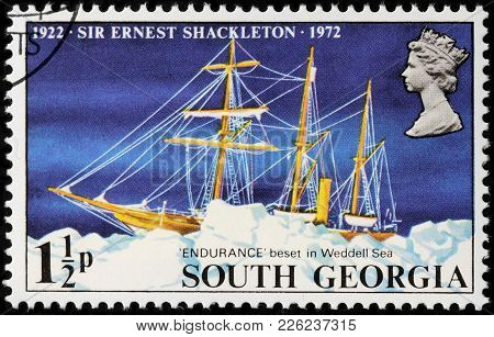 Luga, Russia - February 08, 2018: A Stamp Printed By South Georgia Shows Sir Ernest Shackleton Ship