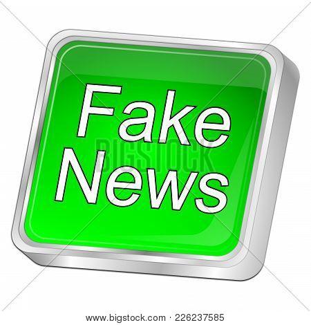 Green Fake News Button - 3d Illustration