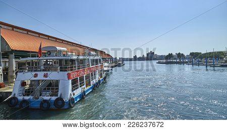 Kaohsiung, Taiwan - November 1, 2017: Kaohsiung Harbor Ferry On 1 November 2017 In Kaohsiung, Taiwan