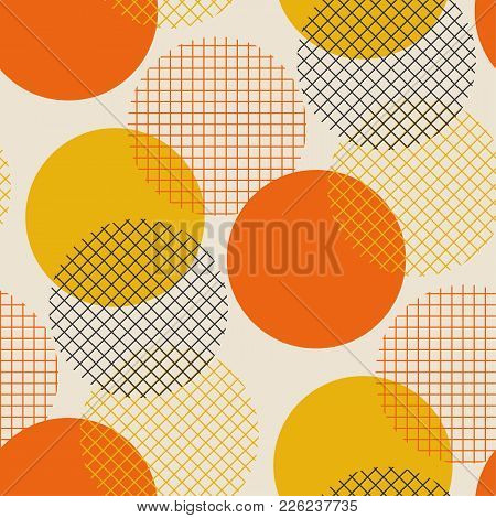 Geometric Circle Seamless Pattern Vector Illustration In Retro 60s Style. Vintage 1970s Ball Geometr