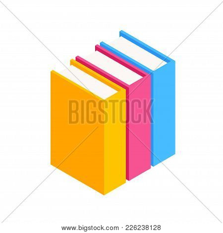 Vector Set Of Colorful Horizontal Stack Of Books In Isometric.education Infographic Template Design