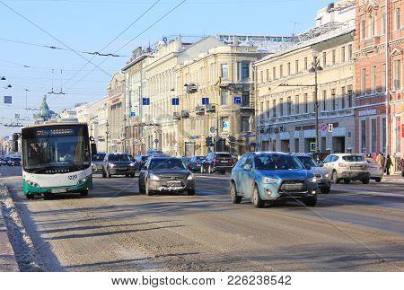St. Petersburg, Russia - February 8, 2018: Nevsky Prospect Main City Street Traffic On Winter Day. C