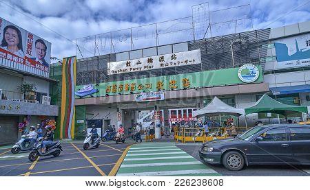 Kaohsiung, Taiwan - November 2, 2017: Kaohsiung Harbor Ferry On 2 November 2017 In Kaohsiung, Taiwan