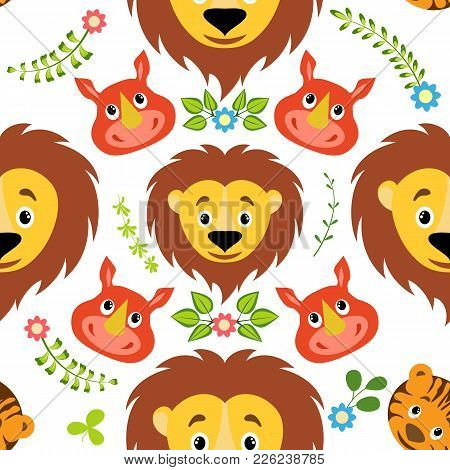 Cartoon Lion, Tiger And Rhino With Floral Element Seamless Childish Pattern. Background, Fabric, Wra