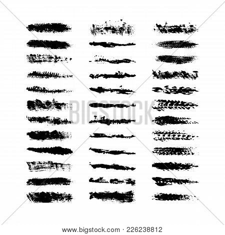 Collection 36 Black Dirty Design Element. Grunge Brush Stroke, Paint Artistic Set. Grunge Texture Co