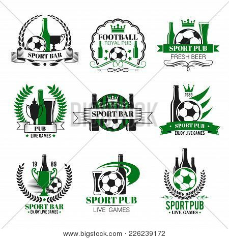 Soccer Sports Pub Icons For Live Games Championship Beer Pub. Vector Isolated Symbols Of Beer Drink