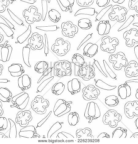 Seamless Pattern Background Peppers. Paprika Vector Illustration. Vegetable Wallpaper. Mexican Food.